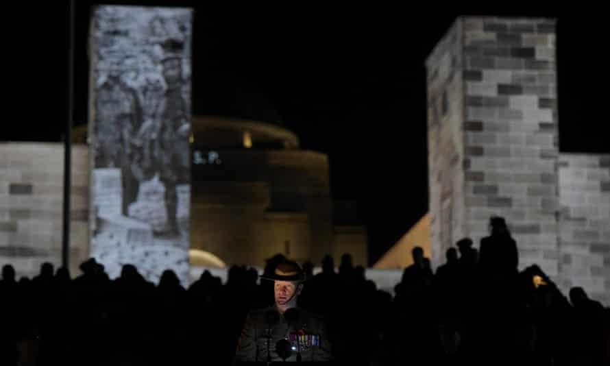 Victoria Cross recipient Daniel Keighran speaks during the Anzac Day dawn service at the Australian War Memorial in Canberra.