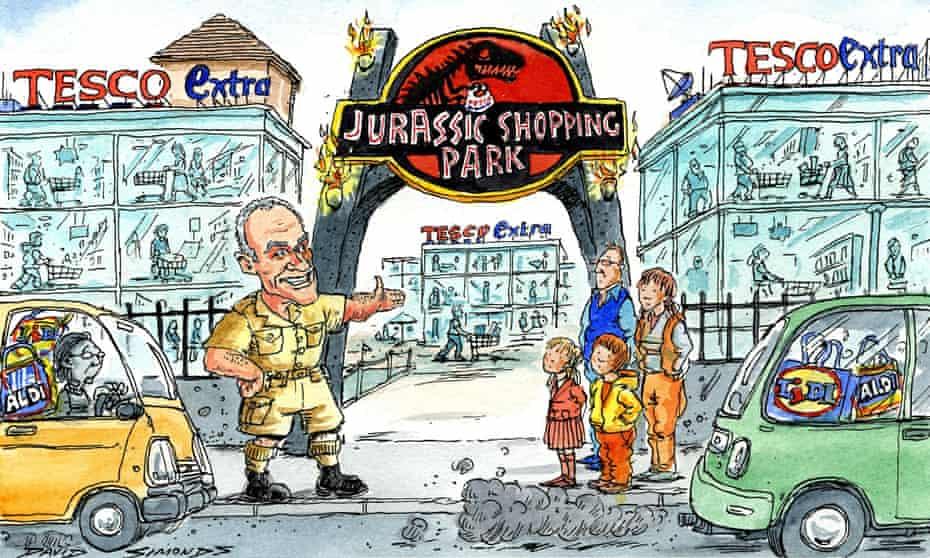 Cartoon showing Tesco as 'Jurassic Shopping Park'