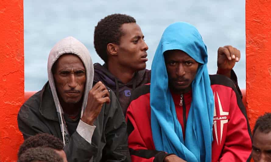 Migrants on ship mediterranean north africa