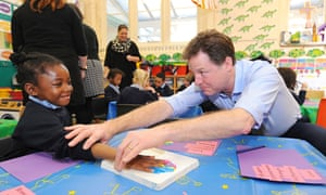 Nick Clegg at Boutcher CofE primary school, in Southwark, London, earlier this month.
