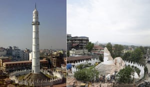 Historic Dharahara tower collapses in Kathmandu, Nepal, after the earthquake