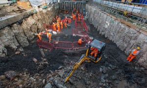 The excavations at the Crossrail archaeology site near Liverpool Street, London.