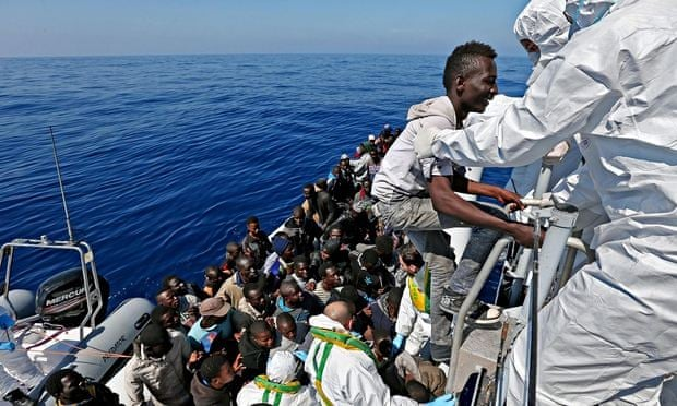 220 migrants rescued by an Italian ship in the Mediterranean sea