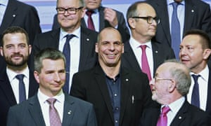 Yanis Varoufakis, centre, and other ministers at the eurozone meeting in Riga, Latvia, on Friday.