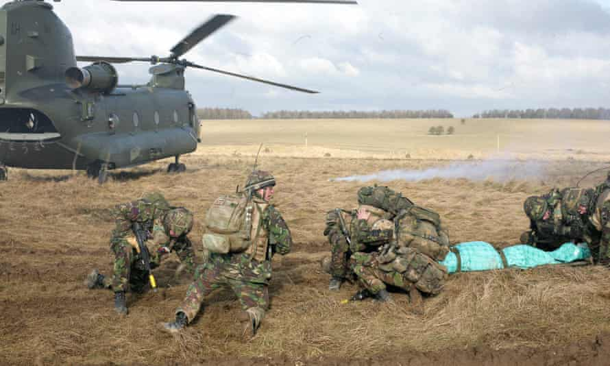 British soldiers take part in a training exercise on Salisbury Plain, Wiltshire, in 2010.