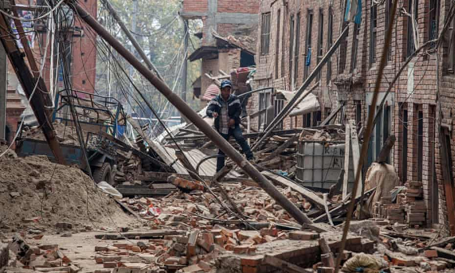 A street in Bhaktapur on Sunday: few of the newer buildings in Nepal's capital appeared to have been damaged. But the older buildings, built of wood and brick, stood little chance.