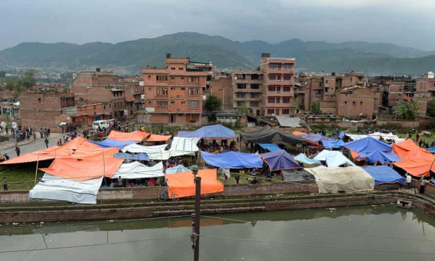 Tents used as emergency shelter in Bhaktapur on Sunday.