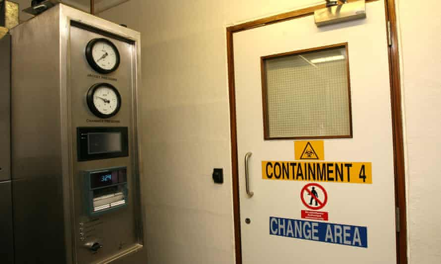 A door on the 'containment floor' of the National Institute for Medical Research, beyond which is the sterile lab where the flu virus samples are kept and tested.
