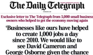 The Daily Telegraph: letter signed by 5,000 small businesses