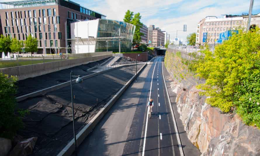 Helsinki's Baana bicycle corridor opened to the public in 2012.