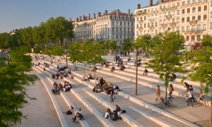 Pedestrian-friendly central Lyon, on the banks of the River Rhone.
