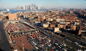 Cars line up to enter the Brooklyn Battery Tunnel heading into Mahattan during New York's first full-scale transit strike in 1966.