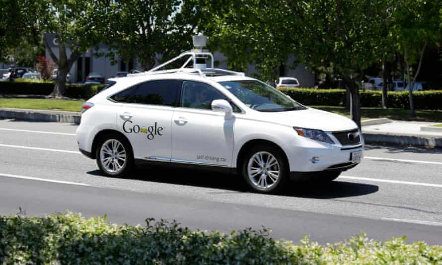 A Google self-driving car on a test drive in Mountain View, California.
