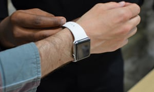 Alex Hern trying on an Apple Watch at Dover Street Market