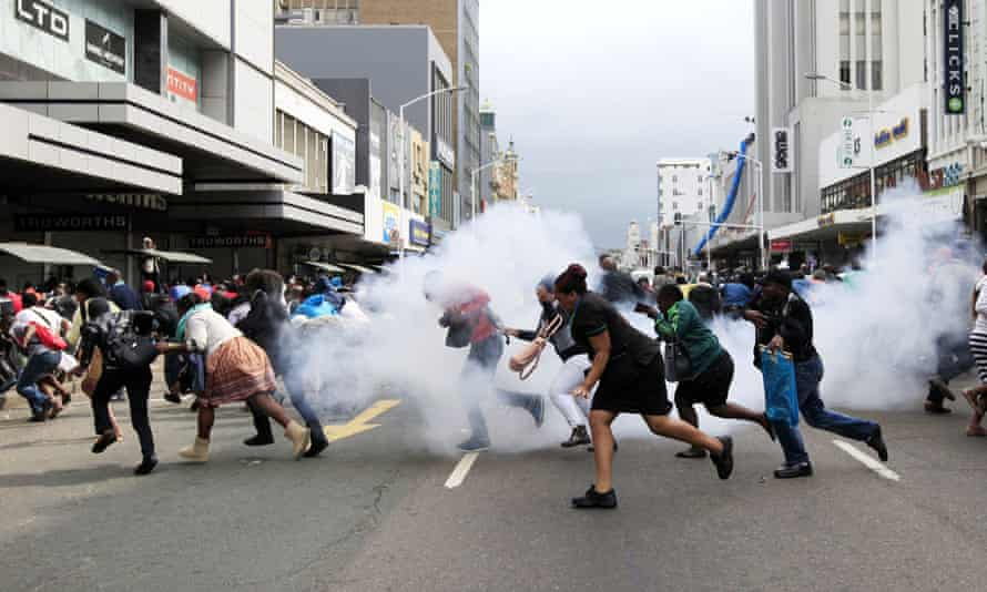 A skirmish between locals and foreign nationals in Durban, South Africa.