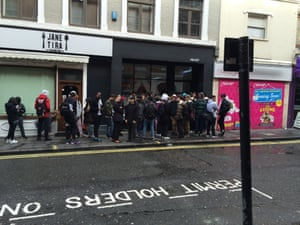 The crowd outside the new Palace shop in Soho