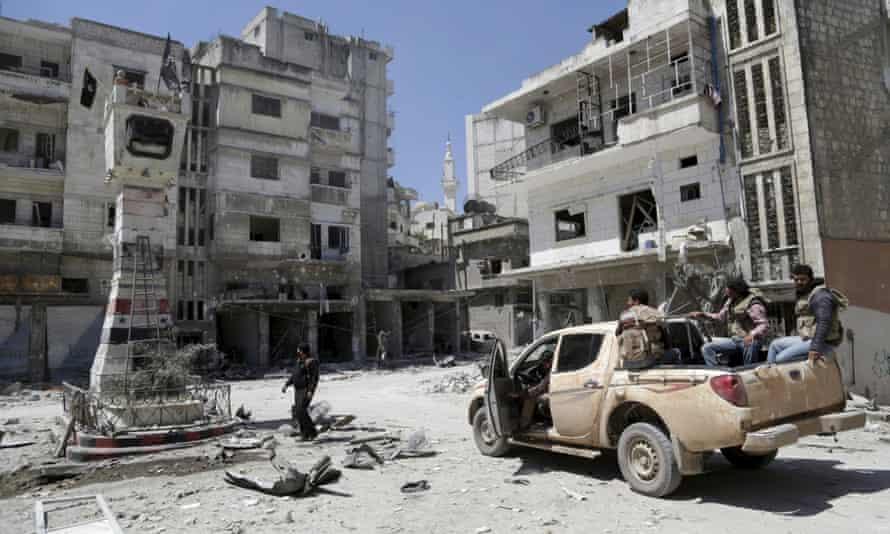 Rebel fighters in Jisr al-Shughour.