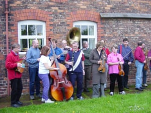 Group of service users with instruments
