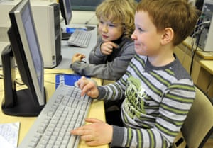 Two pupils at a computer at an elementary school in Helsinki, Finland