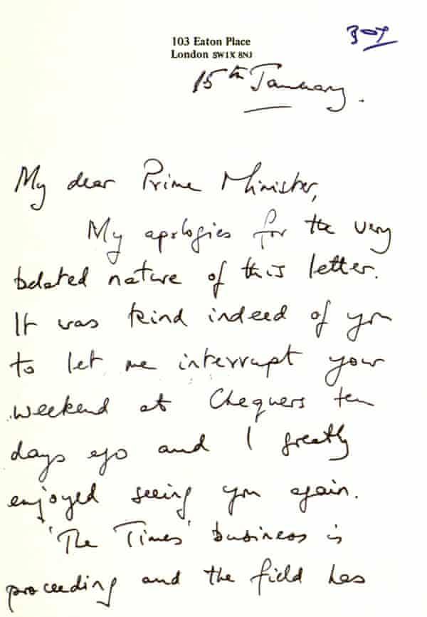 Rupert Murdoch's thank you letter to Margaret Thatcher