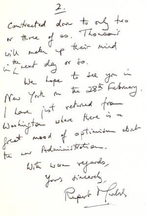 Rupert Murdoch's thank you letter to Margaret Thatcher.