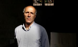 Mordechai Vanunu in St George's Cathedral in east Jerusalem. He lives in quarters there and works as a bell-ringer.