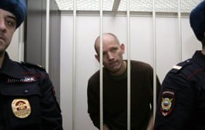 Greenpeace's Frank Hewetson during a hearing at the Kalininsky court in St Petersburg.