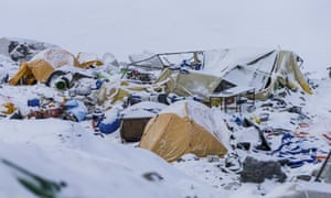 The Mount Everest south base camp a day after a huge earthquake-caused avalanche killed at least 18 people.