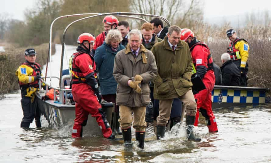 Prince Charles visiting flood-hit communities on the Somerset levels in February 2014 . He has frequently voiced the need for rapid action on global warming.