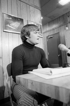 Bob Stewart, player representative of the Cleveland Barons hockey team, shown in a news conference in Richfield, Ohio, Feb. 18, 1977, where he said that the team voted to play against the Colorado Rockies of the NHL in Cleveland and in their following game in Pittsburgh, but that they would become free agents if their financial obligations were not ultimately met in the coming days.