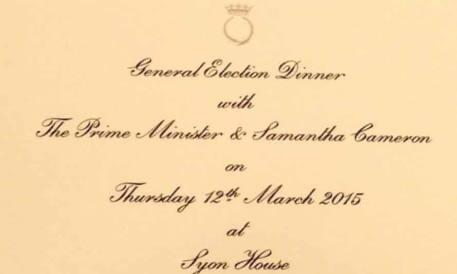 An invitation to a general election dinner