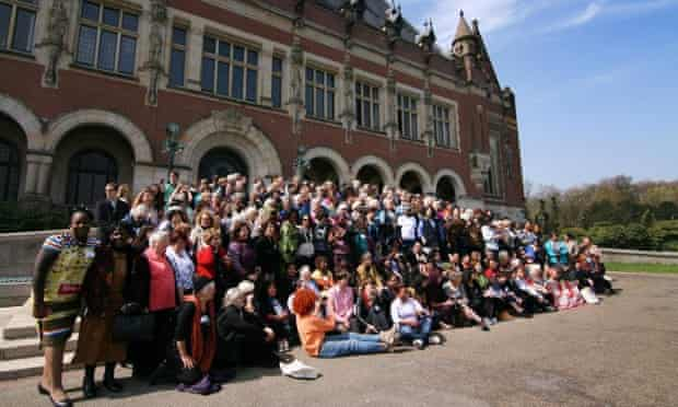 The sun came out and all the delegates of WILPF 2015 Centennial Congress gathered for a group photo in front of the Peace Palace in The Hague, Netherlands