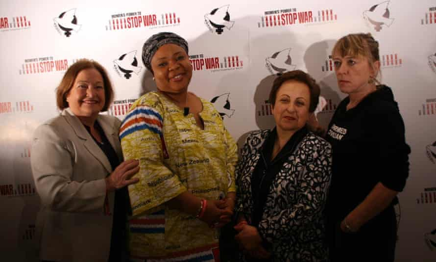 Nobel peace prize laureates at the conference: Mairead Maguire, Leymah Gbowee, Shirin Ebadi and Jody Williams.