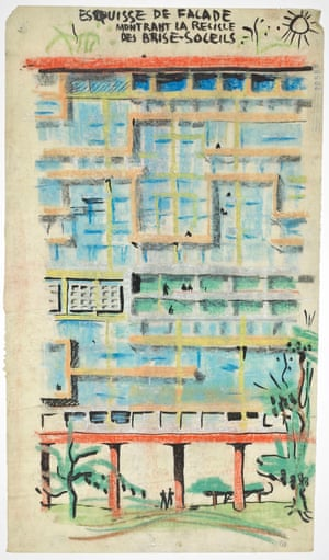 Corbusier's sketch of Unités d'habitation, recherches - façade partielle, 1944