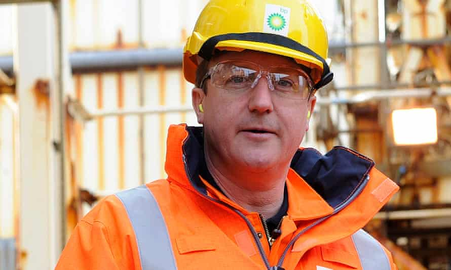 British Prime Minister David Cameron tours the BP ETAP (Eastern Trough Area Project) oil platform in the North Sea