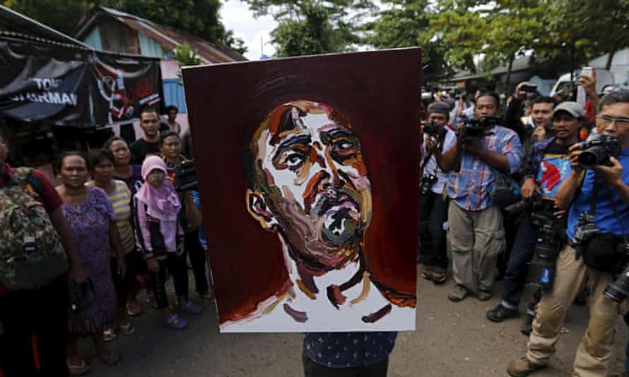 A self-portrait by Australian death-row prisoner Myuran Sukumaran of the Bali Nine