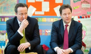 David Cameron and Nick Clegg in school