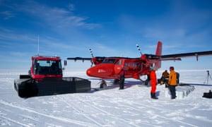 Equipment is flown into the Pine Island 'ski-way'.