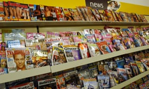 Picture of magazines on newsagents shelf