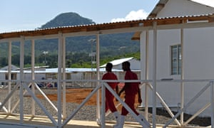 Health workers at the Kerry Town Ebola treatment centre on the outskirts of Freetown, Sierra Leone, last November.