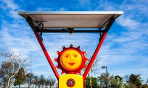 """Solar filling station. An antique gas station pump converted to provide solar powered charing for electronic devices. Taken March 8, 2015, Davis, California.Solar energy power  solar power  PV  photovoltaic  """"Solar Fillin"""