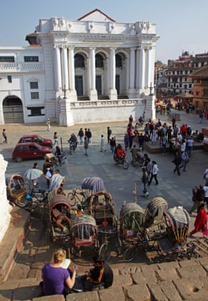 The Gaddi Durbar, built in 1908, in Dubar Square, which contains many temples and palaces and is a world heritage site