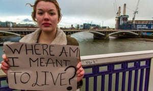 Homeless girl with sign