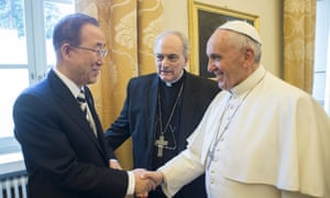 Pope Francis shakes hands with the UN secretary general, Ban Ki-moon, during a meeting at the Vatican.