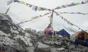 The scene at Everest base camp on Tuesday.