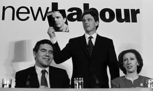 Tony Blair with Gordon Brown and Margaret Beckett at their 1997 election manifesto launch.