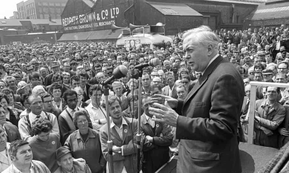 Prime Minister Harold Wilson addresses a crowd of workers during their lunch break at Trafford Park in Manchester.
