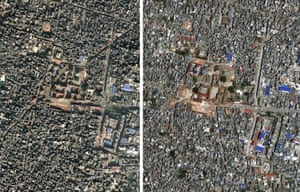 A satellite image showing an undated image of a part of  Kathmandu's historic centre, left, before the earthquake, and after the earthquake