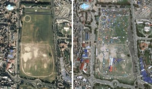 An open area of ground populated with tents  in  satellite images before and after the earthquake
