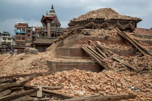 Remains of the temples in Patan Durbar Square reduced to rubble by the earthquake